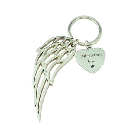 Engraved Keyring with Large Angel Wing