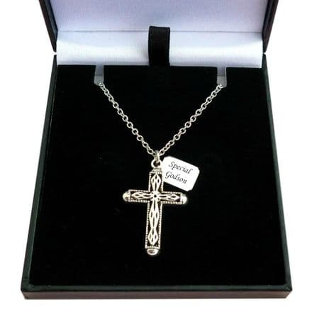 Engraved Necklace with Cross for a Boy or Man