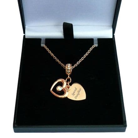 Engraved Necklace with Rose Gold Hearts