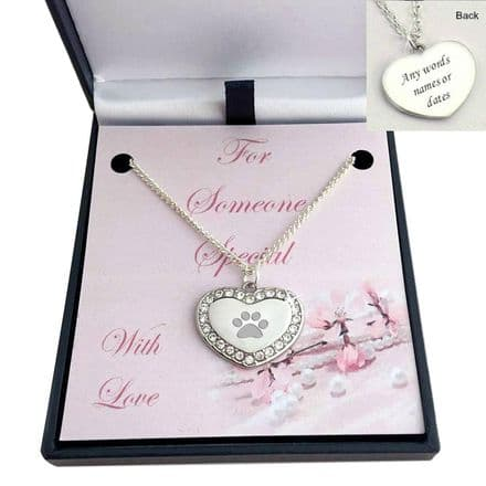 Engraved Paw on Heart Necklace