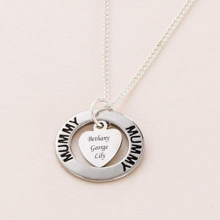 Engraved Ring Necklace for Mum or Mummy