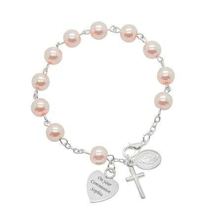 Engraved Rosary Bracelet in Pink or White