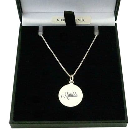 Engraved Round Pendant Personalised Necklace in Silver