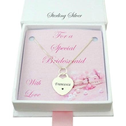Engraved Silver Heart Necklace for Bridesmaid, Flower Girl or Maid of Honour