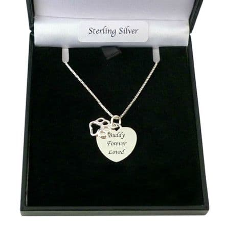 Engraved Silver Heart with Paw Necklace