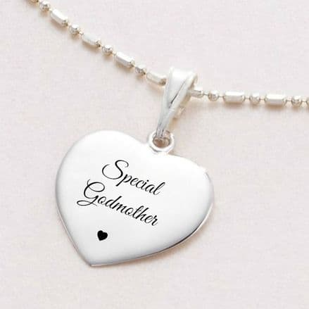 Engraved Silver Necklace for Godmother, Ball & Link Chain
