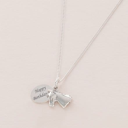 Engraved Silver Necklace with Horse Head Charm