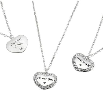 Engraved Sparkly Necklace Bridesmaid, Flower Girl etc