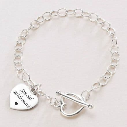 Engraved Sterling Silver Charm Bracelet, Bridesmaid Gift