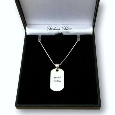Engraved Sterling Silver Dogtag Necklace, Small