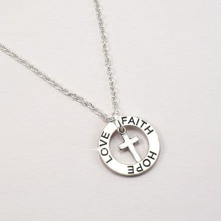 Faith Hope Love Necklace in First Communion Gift Box