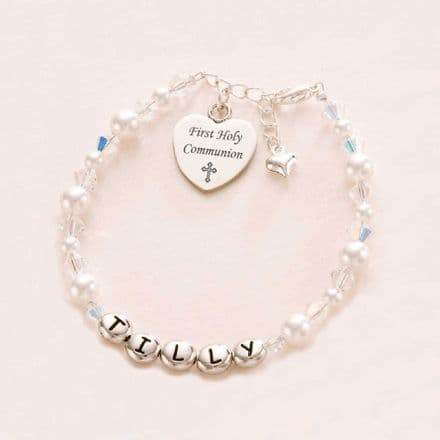 First Communion Bracelet with Name & Engraving