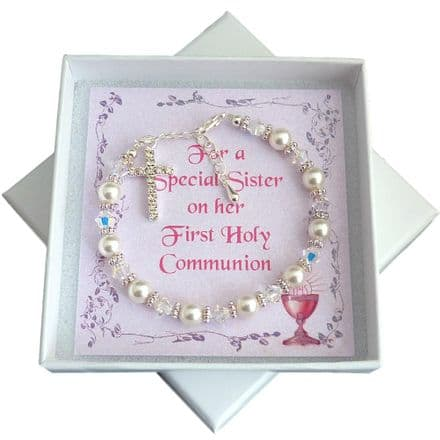 First Holy Communion Bracelet with Sparkly Cross
