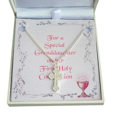 First Holy Communion Cross Necklace with Card Choice