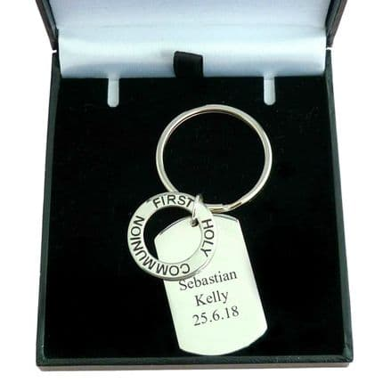 First Holy Communion Dogtag Keyring with Engraving