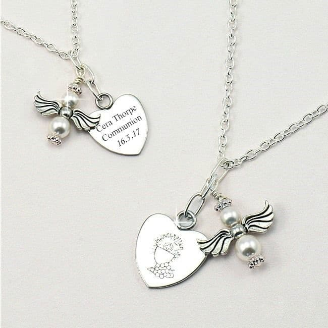 First Holy Communion Engraved Angel Necklace   Jewels 4 Girls