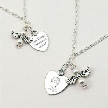First Holy Communion Engraved Angel Necklace