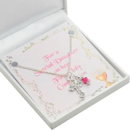 First Holy Communion Necklace, Cross, Birthstone & Card