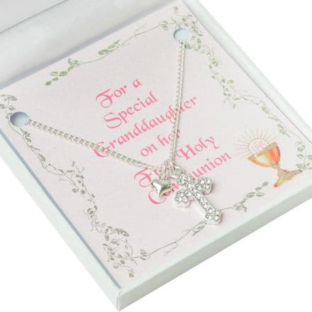 First Holy Communion Necklace, Cross, Heart & Card