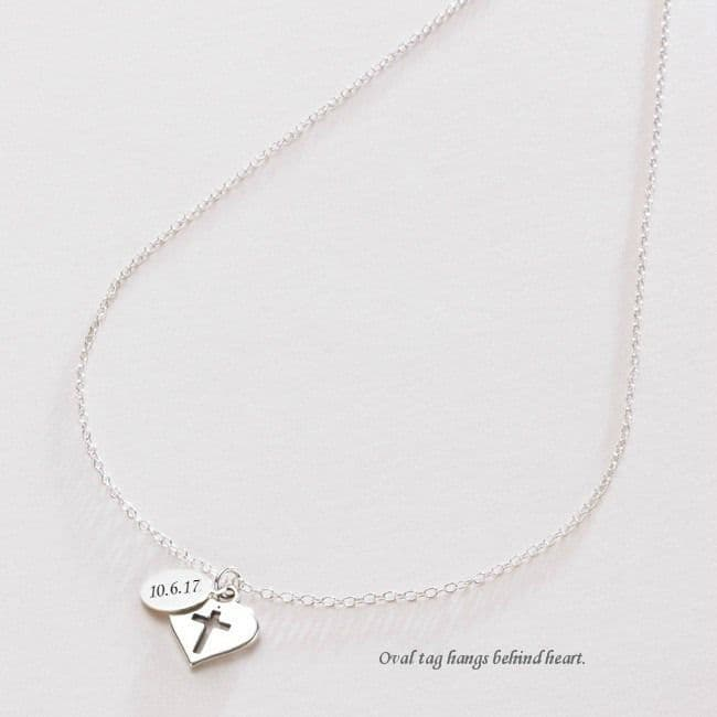 First Holy Communion Necklace with Engraved Tag   Jewels 4 Girls