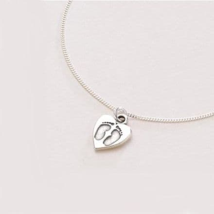 Footprints Silver Necklace. Can be Personalised.