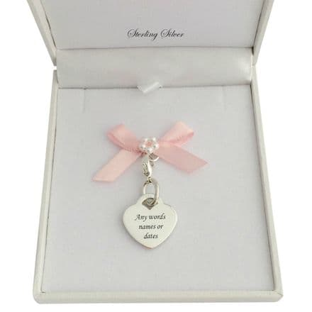 Gift Boxed Engravable Heart Charm 19x17mm