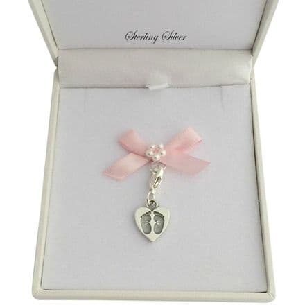 Gift Boxed Footprints on your Heart Charm