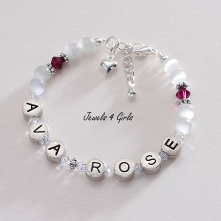 Girl's Birthstone Personalised Bracelet - Pewter Letters
