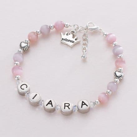 Girl's Personalised Bracelet with Princess Crown