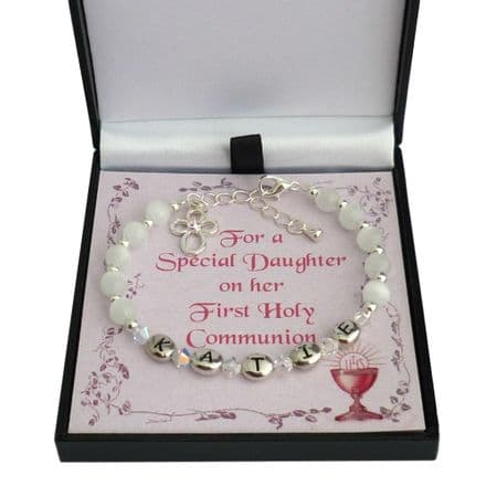 Girl's Personalised First Communion Bracelet With Cross Charm