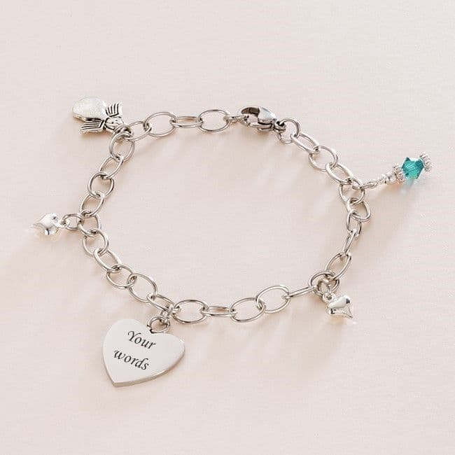 Girls Birthstone Bracelet with Engraving and Angel Charm | Jewels 4 Girls