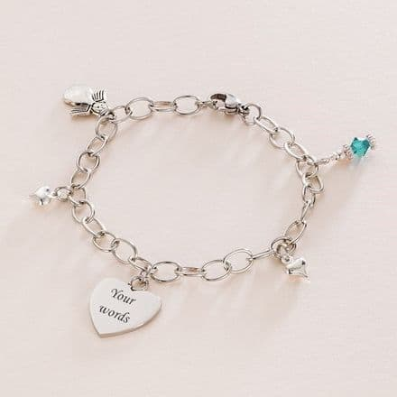 Girls Birthstone Bracelet with Engraving and Angel Charm