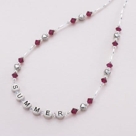 Girls Birthstone Personalised Name Necklace
