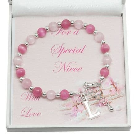 Girls Bracelet with Letter Charm, For Niece, Goddaughter etc