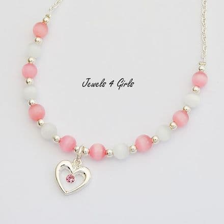Girls Cats Eye Necklace, Pink & Other Colours