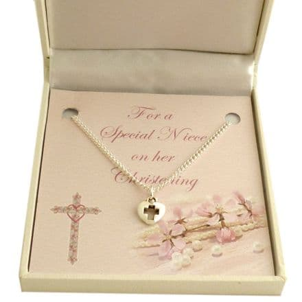 Girls Christening Necklace with Card Choice