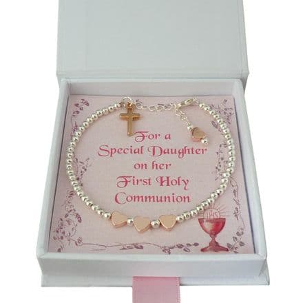 Girls First Holy Communion Day Bracelet, Mixed Metals