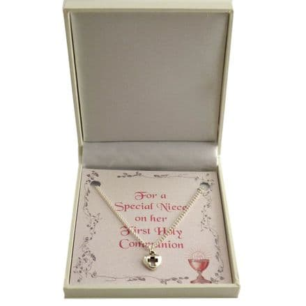 Girls First Holy Communion Necklace with Card Choice