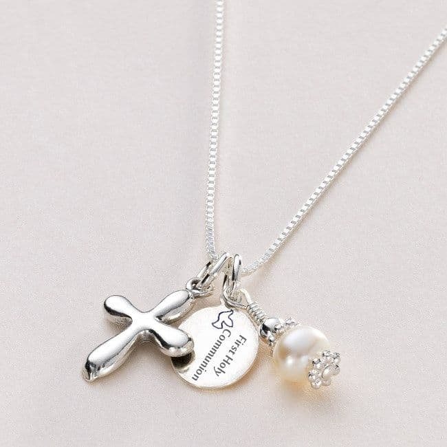 Girls Holy Communion Necklace with Engraved Tag | Jewels 4 Girls