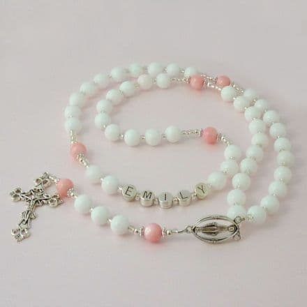 Girls Name Rosary with White Jade and Pearl