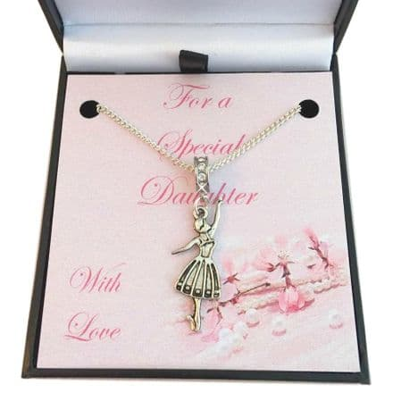 Girls Necklace with Ballerina for Daughter, Granddaughter etc