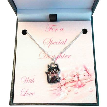 Girls Necklace with Black Cat for Sister, Goddaughter etc