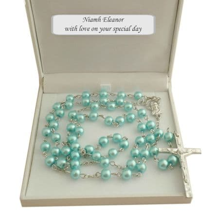 Girls or Boys Rosary Beads in Personalised Gift Box, Turquoise