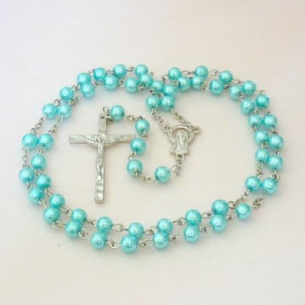 Girls or Boys Rosary Beads in Turquoise