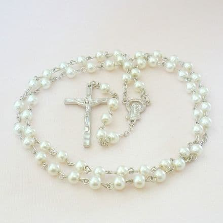 Girls or Boys Rosary Beads in White