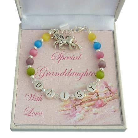 Girls Personalised Bracelet for Granddaughter, Goddaughter etc