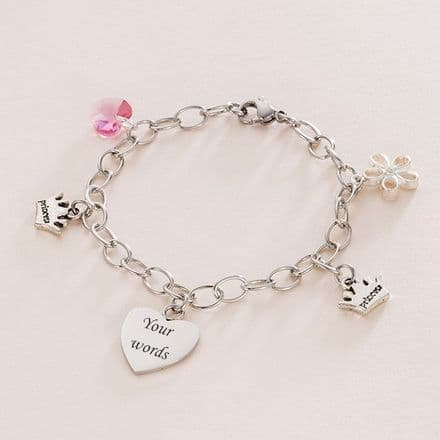 Girls Personalised Bracelet with Princess Charm, Birthstone and Engraving