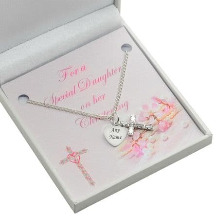 Girls Personalised Christening Necklace with Crystal Cross