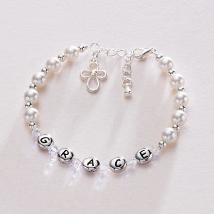 Girls Personalised First Communion Pearl Bracelet