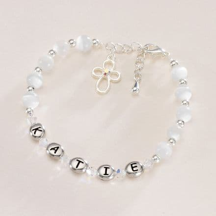 Girls Personalised First Holy Communion Bracelet
